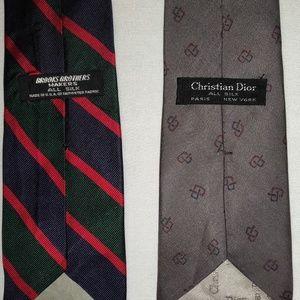 2 ties. Brooks Brothers & Christian Dior.